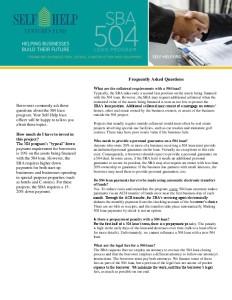 Self-Help 504 FAQ